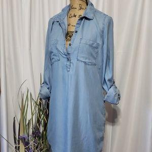 SO Denim Long Sleeve Shirt Dress